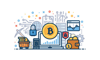 Cryptocurrency vector illustration