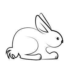 Rabbit sitting down silhouette vector logo