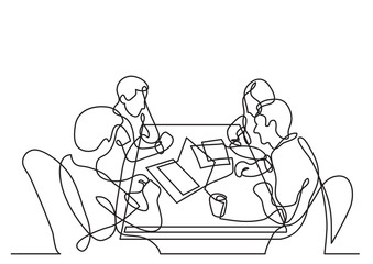 continuous line drawing of four team members working together