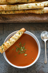 Tomato Soup with Pumpkin Seed Bread Sticks