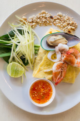 Thai style noodles with shrimp and vegetables,Pad Thai
