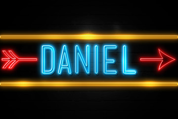 Daniel  - fluorescent Neon Sign on brickwall Front view Fotomurales