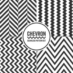 Chevron seamless pattern background set. Black and white vector illustration.