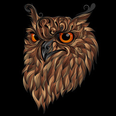 Beautiful abstract vector owl with brown feathers on a black background