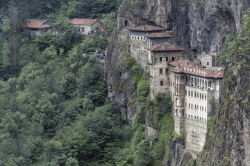 Turkey. Region Macka of Trabzon city - the Sumela Monastery (1600 year old Greek Orthodox monastery of the Panaghia). Rock Church - the inner and outer walls are decorated with frescoes Wall mural