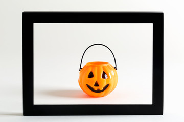 Halloween pumpkin decorations on a white background