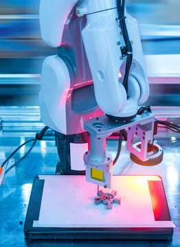 process of soldering system in factory,automated scanning.