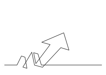 continuous line drawing of growth arrow