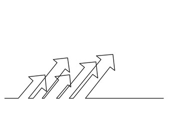 continuous line drawing of multiple arrows