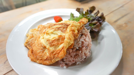 rice with omelette topping