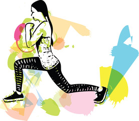 abstract fitness woman, trained female body