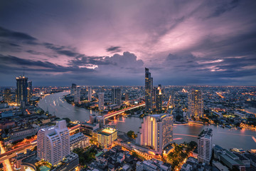 Bangkok - August 27 : view from the state tower 49 th floor in the twilight time on August 27, 2017.
