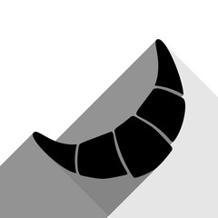 Croissant simple sign. Vector. Black icon with two flat gray shadows on white background.