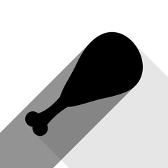 Chicken leg sign. Vector. Black icon with two flat gray shadows on white background.