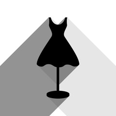 Mannequin with dress sign. Vector. Black icon with two flat gray shadows on white background.