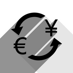Currency exchange sign. Euro and Japan Yen. Vector. Black icon with two flat gray shadows on white background.