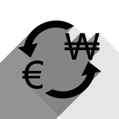 Currency exchange sign. Euro and South Korea Won. Vector. Black icon with two flat gray shadows on white background.