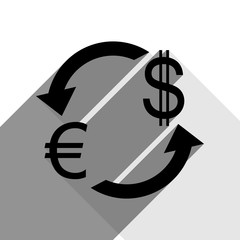 Currency exchange sign. Euro and Dollar. Vector. Black icon with two flat gray shadows on white background.