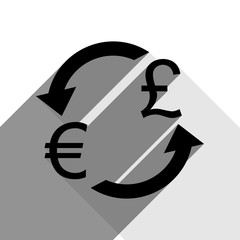 Currency exchange sign. Euro and UK Pound. Vector. Black icon with two flat gray shadows on white background.