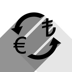 Currency exchange sign. Euro and Turkey Lira. Vector. Black icon with two flat gray shadows on white background.