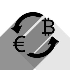 Currency exchange sign. Euro and Bitcoin. Vector. Black icon with two flat gray shadows on white background.