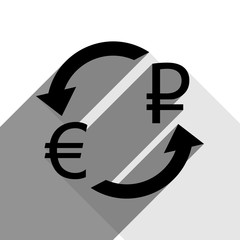 Currency exchange sign. Euro and Russia Ruble. Vector. Black icon with two flat gray shadows on white background.