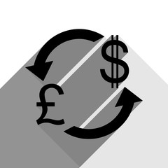 Currency exchange sign. UK: Pound and US Dollar. Vector. Black icon with two flat gray shadows on white background.