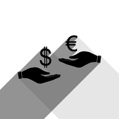 Currency exchange from hand to hand. Dollar adn Euro. Vector. Black icon with two flat gray shadows on white background.