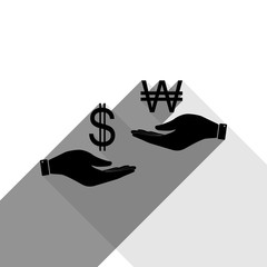Currency exchange from hand to hand. Dollar and South Korea Won. Vector. Black icon with two flat gray shadows on white background.