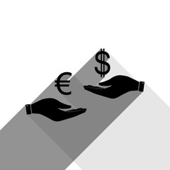 Currency exchange from hand to hand. Euro and Dollar. Vector. Black icon with two flat gray shadows on white background.