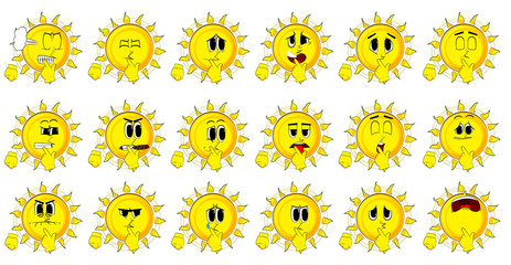 Cartoon sun holdin finger front of his mouth. Collection with sad faces. Expressions vector set.