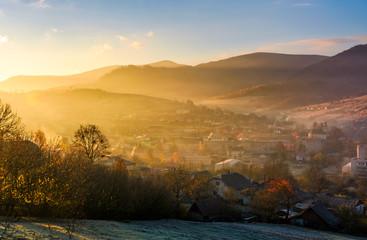 spectacular sunrise in mountainous countryside