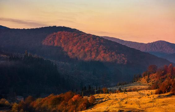 warm sunrise in mountainous countryside