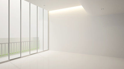 white empty room and balcony for artwork - Interior Design - 3D Rendering