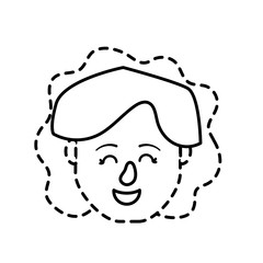 dotted shape avatar woman head with hairstyle design vector illustration