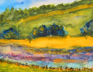 watercolor painting, landscape