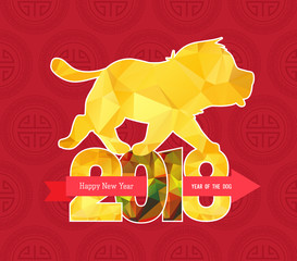 Chinese new year 2018 polygonal rooster