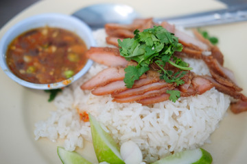 Red pork with rice
