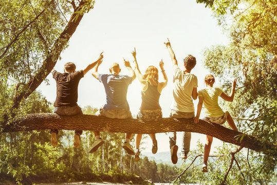 Five happy friends fun concept