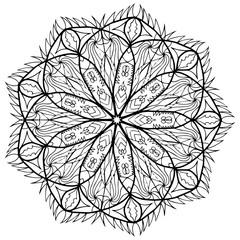 Mandala flower coloring raster for adults