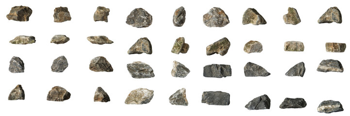 Group Set Stones isolated on white background Wall mural