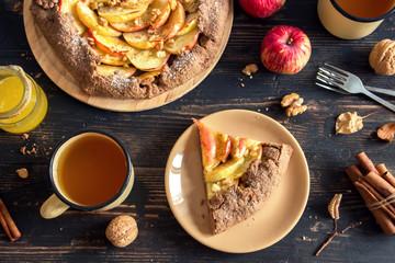 Autumn breakfast with apple pie