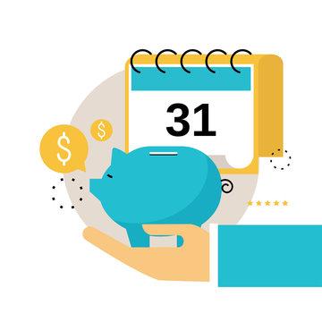 Financial calendar, financial planning, monthly budget planning flat vector illustration design. Financial planning design for mobile and web graphics