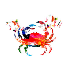 Crab, seafood vector illustration design isolated. Colorful crab isolated for restaurant poster, restaurant menu, fish food, seafood cuisine