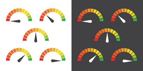 Meter signs infographic gauge element from red to green vector illustration