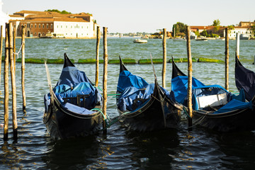Image with moored gondolas