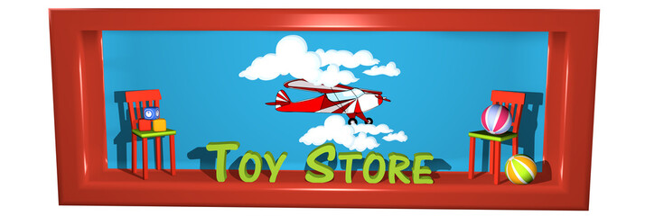 Header im Fensterstil  für einen Internetshop mit Spielsachen.