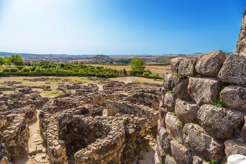 Barumini, Sardinia, Italy. View of the prehistoric nuragic complex of Su Nuraxi. UNESCO World Heritage List