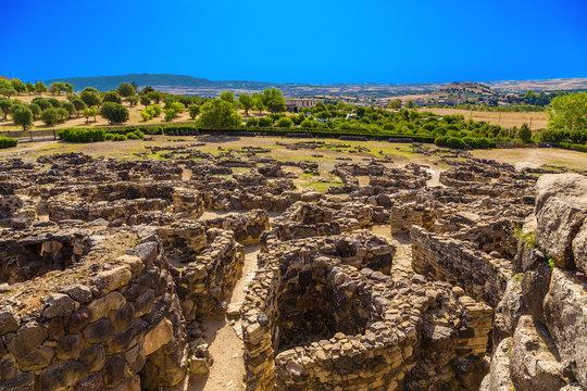 Barumini, Sardinia, Italy. View of prehistoric nuragic complex of Su Nuraxi di Barumini. UNESCO World Heritage List.