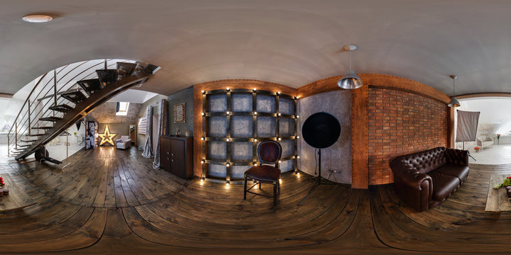 Panorama in interior modern photographic studio of daylight. Full spherical 360 by 180 degrees seamless panorama in equirectangular equidistant projection. VR content